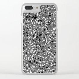 Dark Grey Monochrome Speckles Terrazzo Pattern Stone Effect Clear iPhone Case