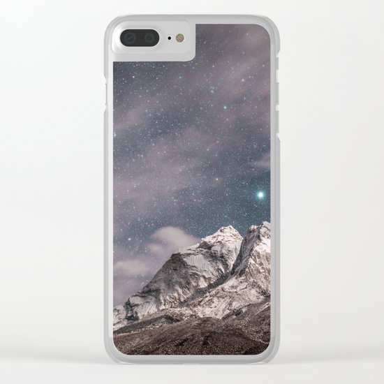 Space and earth collide Clear iPhone Case