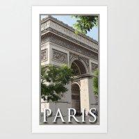Paris - Arc De Triomphe Retro Travel Art Print