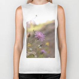 Purple Flowers Vintage on the Beach Biker Tank