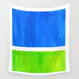 Abstract Minimalist Mid Century Modern Watercolor Geometric Squares Rothko Lime Green Marine Blue Wall Tapestry