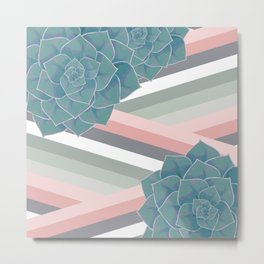 Pastel Big Echeveria Design Metal Print