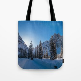 Sunny morning in Val Fiscalina Tote Bag