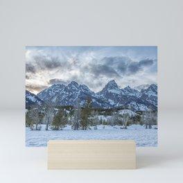 Sunset Behind the Tetons Mini Art Print