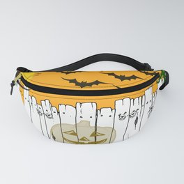 Black Cat on a Spooky Fence - Halloween Fanny Pack
