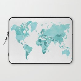 Distressed world map in aquamarine and teal Laptop Sleeve