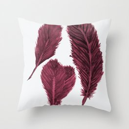 Feather Collection - bordeux Throw Pillow