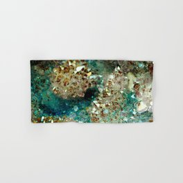 SPARKLING GOLD AND TURQUOISE CRYSTAL Hand & Bath Towel