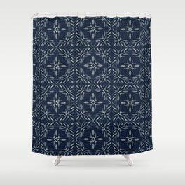 Traditional Indigo Blue Hand Drawn Portugal Shower Curtain