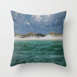 Boardwalk At Shell Island  Throw Pillow