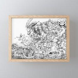 Anime Characters Doodle Framed Mini Art Print
