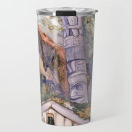 Emily Carr - Haida Totems, Cha-atl, Queen Charlotte Island - Canada, Canadian Oil Painting Travel Mug