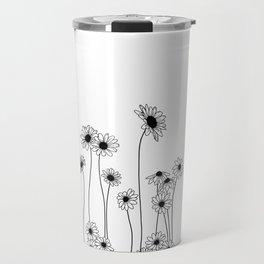 Minimal line drawing of daisy flowers Travel Mug