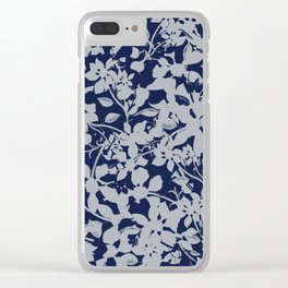 Blue and Grey Floral Pattern - Broken but Flourishing Clear iPhone Case