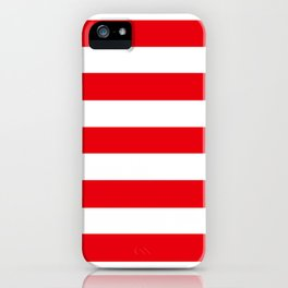 KU crimson - solid color - white stripes pattern iPhone Case