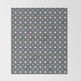 Grey white blue polka dot pattern Throw Blanket