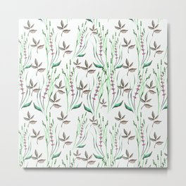 Artistic green pink watercolor floral leaves pattern Metal Print