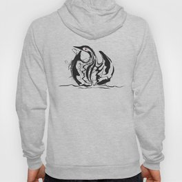 Swan-1. Black on white background-(Red eyes series) Hoody
