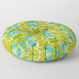 Turquoise and Green Leaves 1960s Retro Vintage Pattern Floor Pillow