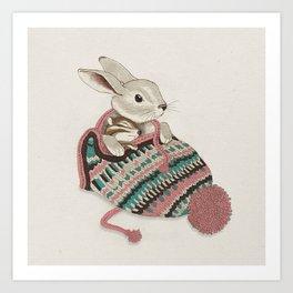 Cozy Bunny and Chipmunk Art Print