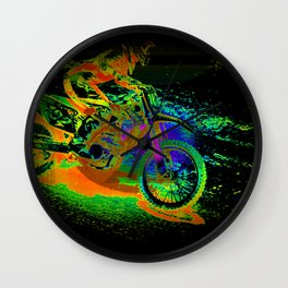 Race to the Finish! - Motocross Racer Wall Clock