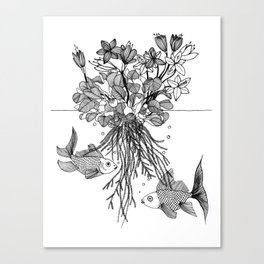 Waterlilies and goldfishes Canvas Print
