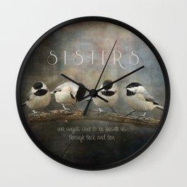 Sisters - Chickadees - Birds Wall Clock