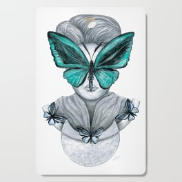 Green Butterfly Drawing Cutting Board