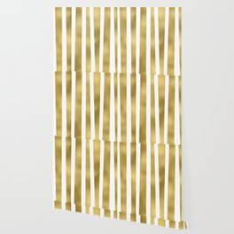 Gold unequal stripes on clear white - vertical pattern Wallpaper