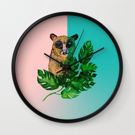 Cute Lemur Watercolor Wall Clock
