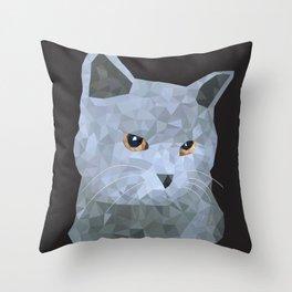 Low poly british cat Throw Pillow