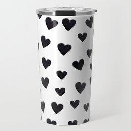 Hearts Love Black and White Pattern Travel Mug
