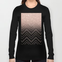 Modern faux rose gold glitter ombre modern chevron stitches pattern Long Sleeve T-shirt