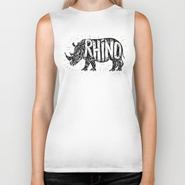 Rhino in tribal style Biker Tank