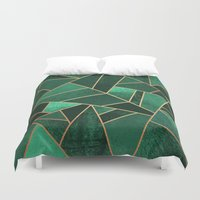 copper Duvet Covers featuring Emerald and Copper by Elisabeth Fredriksson