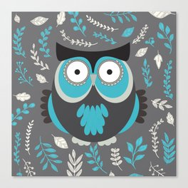 BLUE OWL AND LEAVES Canvas Print
