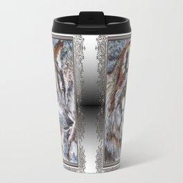 Gray Wolf Watches and Waits Travel Mug