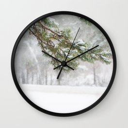 Fir-tree under the snowflakes Wall Clock