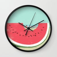 watermelon Wall Clocks featuring Watermelon by Tatsuro Kiuchi