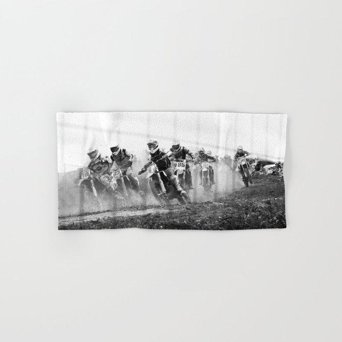 Motocross black white Hand & Bath Towel