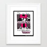 pivot Framed Art Prints featuring Roller Derby  by Rachel M. Loose