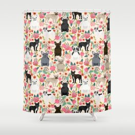 Frenchie floral french bulldog cute pet gifts dog breed must haves florals french bulldogs Shower Curtain