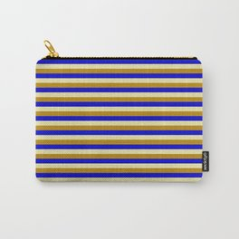 Pale Goldenrod, Dark Goldenrod, and Blue Colored Striped/Lined Pattern Carry-All Pouch