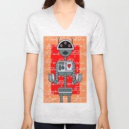Nerdy Robot Print with math formulas in background Unisex V-Neck