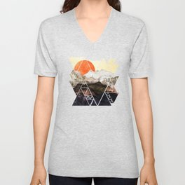Marbled mountains by sunset Unisex V-Neck