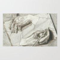 escher Area & Throw Rugs featuring Drawing Hands, MC Escher by Chessirose
