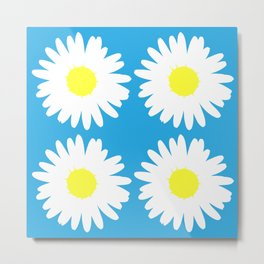 Blue Daisy Bouquet Metal Print