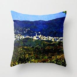 Calabria landscape with Catanzaro city and Sila mountain Throw Pillow
