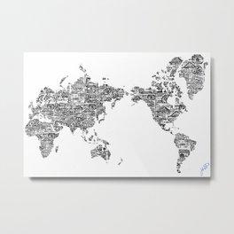 Passport Stamp Map 1 Metal Print
