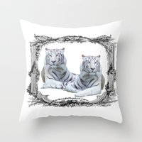 tigers Throw Pillows featuring White Tigers by haroulita